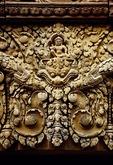 INDRA, GUARDIAN OF EAST, LINTEL, WEST GOPURA II, BANTEAY SREI, CAMBODIA