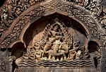 THE RAIN OF INDRA, NORTH LIBRARY, EAST FACE, BANTEAY SREI, CAMBODIA