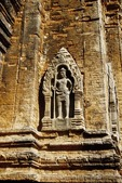 DVARAPALA (MALE GUARDIAN) WITH TRIDENT, LOLEI. ROLOUS, ANGKOR, CAMBODIA