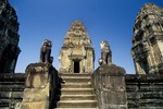CENTRAL TOWER & GUARDIAN LIONS, EAST MEBON, ANGKOR, CAMBODIA