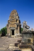 GUARDIAN LION & TOWER, EAST MEBON, ANGKOR, CAMBODIA