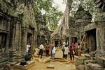 CAMBODIAN VISITORS TO THE SITE, TA PROHM, ANGKOR, CAMBODIA