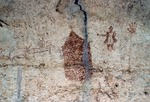 HISTORICAL PICTOGRAPHS OF CHURCH &amp; MAN. PRESSA CANYON. TRANS-PECOS TEXAS