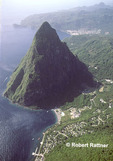 Petit Piton & Soufriere, St Lucia- aerial view