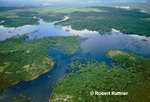 Aerial view of Amazon Rainforest and Amazon River tributary