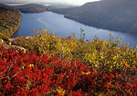 Autumn view of Jordan Pond in Acadia National Park, Downeast, ME