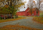 Fall foliage at Red Barn Farm in Quechee, VT