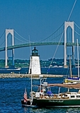 Newport Harbor Light, 1823 and the Newport Bridge, Newport, RI