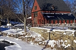 Winter, classic New England village, New Boston, Monadnock Region, NH