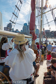 The pirate crew of Boston's tall ship Formidable in Boston Harbor, Boston, Massachusetts, USA