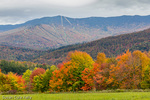 Autumn color under the ski mountains in Waitsfield, Vermont, USA