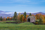 The A. M. Foster Covered Bridge before sunrise in Cabot Plains, Cabot, Vermont, USA