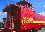 SANTA FE, NEW MEXICO. USA. Caboose of historic Santa Fe Southern Railroad at Santa Fe railroad depot.