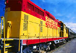 SANTA FE, NEW MEXICO. USA.Locomotive of historic Santa Fe Southern Railroad at Santa Fe railroad depot.