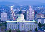 SALT LAKE CITY, UTAH. USA. View of Utah State Capitol dome & State Street at dusk.