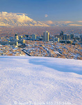 SALT LAKE CITY, UTAH. USA. Deep snow above Salt Lake City and the Salt Lake Valley. Wasatch Mountains in distance.