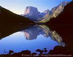 BRIDGER WILDERNESS, WYOMING. USA. Squaretop Mountain reflected in Upper Green River Lake. Wind River Range. Bridger-Teton National Forest. Rocky Mountains.
