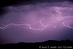 UTAH. USA. Cloud-to-cloud lightning strokes. Nightime thunderstorm over Wellsville Mountains. Great Basin.