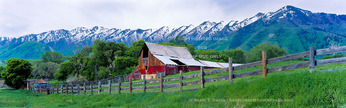 MENDON, UTAH. USA. Barn below Wellsville Mountains in spring . Cache Valley. Great Basin.