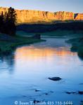 WYOMING. USA. Brooks Lake Creek and Brooks Lake below the Breccia Cliffs at sunrise. Shoshone National Forest. Absaroka Range.