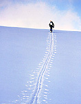 UTAH. USA. Backcountry skier breaks trail through snow on mountain ridge. Wasatch-Cache National Forest. Bear River Range. Wasatch Mountains.