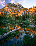 UTAH. USA. Mount Magog reflected in White Pine Lake at sunrise. Bear River Range. Wasatch-Cache National Forest. Wasatch Mountains.