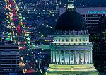 SALT LAKE CITY, UTAH. USA. View of dome of Utah State Capitol Building and State Street at dusk.