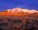 NEVADA, USA. Light of winter sunrise on Bloody Run Peak in the Bloody Run Hills near Winnemucca. Great Basin.