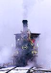 GOLDEN SPIKE NATIONAL HISTORIC SITE, UTAH. USA. Union Pacific Locomotive 119 under steam in winter.