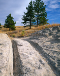 WYOMING. USA. Wagon ruts cut into rock. Along Oregon Trail near Guernsey. Oregon Trail Ruts National Historic Landmark.