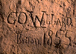 """WYOMING. USA. Inscription carved in soft rock at Register Cliff by Oregon Trail Traveler. """"G.O. Willard. Boston. 1855."""""""