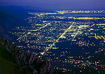 UTAH. USA. Lights of the city of Ogden and Wasatch Front. View south from Willard Peak in the Wasatch Mountains. Wasatch-Cache National Forest.