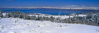 View of Bear Lake and Bear Lake Valley from Bear River Range in winter. Wasatch-Cache National Forest.