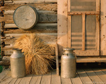 UTAH. USA. Old milk cans, washtub, and shock of wheat on kitchen porch at Ronald Jensen Historic Farm. American West Heritage Center.