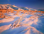 UTAH. USA. Snow on grasses on foothills of Bear River Range. Cache Valley.