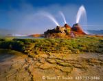 NEVADA. USA. Geyser Hot Springs, a.k.a. Fly Geyser. Boiling artesian well drilled c.1917. Black Rock Desert. Great Basin.