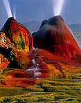 NEVADA. USA. Geyser Hot Springs, a.k.a. Fly Geyser. Boiling artesian well drilled c.1917. Black Rock Desert. Great Basin.