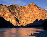 UTAH. USA. Green River & canyon wall at sunrise. Desolation Canyon. Proposed Book Cliffs-Desolation Canyon BLM Wilderness.