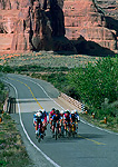 ARCHES NATIONAL PARK, UTAH. USA. Bicycle racers cross Courthouse Wash. Stage Race.
