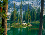 SAWTOOTH WILDERNESS, IDAHO. USA. Island in Johnson Lake. Sawtooth Mountains. Sawtooth National Forest. Sawtooth Nartional Recreation Area. Rocky Mountains.