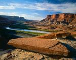 CANYONLANDS NATIONAL PARK, UTAH. USA. Sandstone slabs above Green River & Fort Bottom.