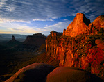 """CANYONLANDS NATIONAL PARK, UTAH. USA. Cliffs & """"Half-Dome"""" at sunset. Island in the Sky."""