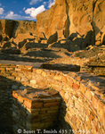 CHACO CULTURE NATIONAL HISTORICAL PARK, NEW MEXICO. USA. Kiva wall, Pueblo Bonito. Ancestral Puebloan structures. Chaco Canyon.