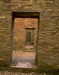 CHACO CULTURE NATIONAL HISTORICAL PARK, NEW MEXICO. USA. Doorways. Pueblo Bonito. Ancestral Puebloan structure. Chaco Canyon.