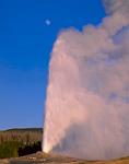 YELLOWSTONE NATIONAL PARK, WYOMING. USA. Old Faithful Geyser erupting below nearly full waxing moon. Upper Geyser Basin.