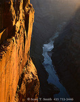 GRAND CANYON NATIONAL PARK, ARIZONA. USA. Limestone cliff & the Colorado River at sunrise. Toroweap. Redwall Limestone.