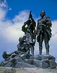 FORT BENTON, MONTANA. USA. Statue of Lewis & Clark & Sacajawea. Along Missouri River. Lewis & Clark Trail.