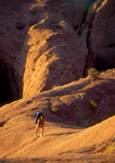 GLEN CANYON NATIONAL RECREATION AREA, UTAH. USA. Backpacker on slickrock hiking out of Coyote Gulch. Escalante River drainage.