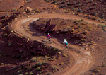 CANYONLANDS NATIONAL PARK, UTAH. USA. Mountain bikers on White Rim Trail.