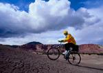 UTAH. USA. Mountain biker on Velvet Ridge. Fremont River Valley. Colorado Plateau.